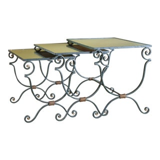 1940s Vintage French Iron Mirrored Top Nesting Tables- Set of 3 For Sale