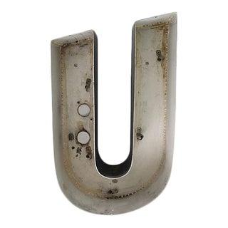 Vintage Aluminum Letter U For Sale