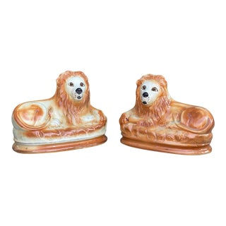 Staffordshire Pottery Lions - a Pair For Sale