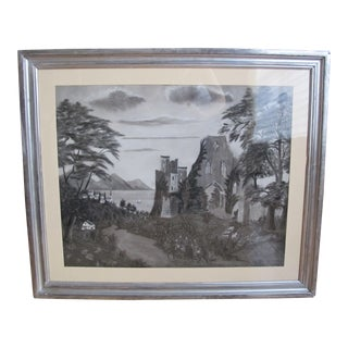 Mid 19th Century Antique Sandpaper Painting For Sale
