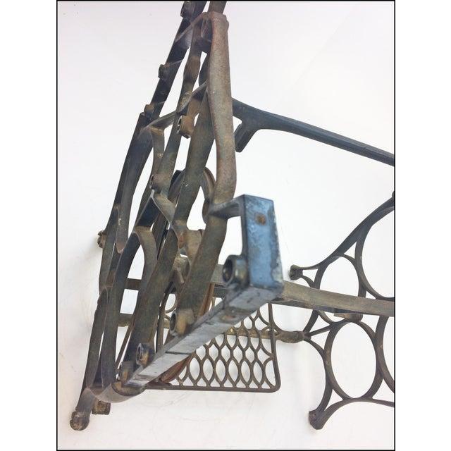 Vintage Industrial Black Iron Treadle Sewing Machine Base - Image 9 of 11
