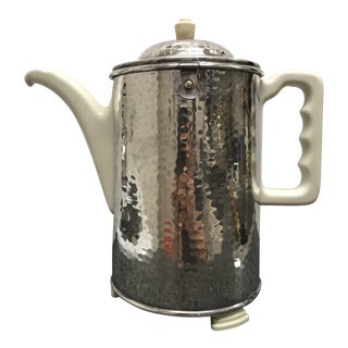 1930s Arts and Crafts Hammered Silver Plated Insulated Coffee Pot For Sale