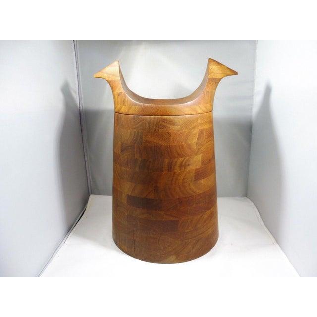 1950s Danish Modern Teak Ice Bucket With Horns For Sale - Image 10 of 10