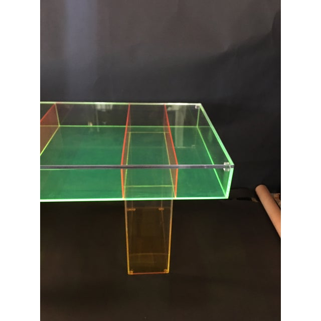 1990s Modern Multi-Color Lucite Coffee Table For Sale - Image 5 of 7