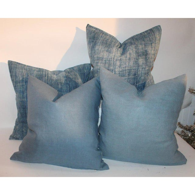 Early 20th Century 19th Century Blue Homespun Linen Pillows - a Pair For Sale - Image 5 of 10