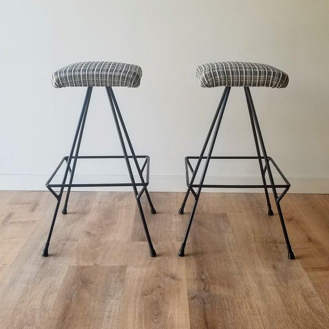 Newly Uphostered Mid-Century Modern Iron Counter Stools - a Pair For Sale - Image 10 of 10