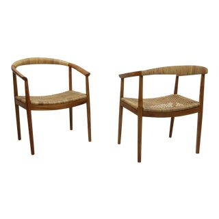 Vintage Pair of Oversized Danish Style Teak & Cane Round Back Side Chairs For Sale