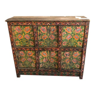 Antique Asian Colorful Painted Green Wood Cabinet For Sale