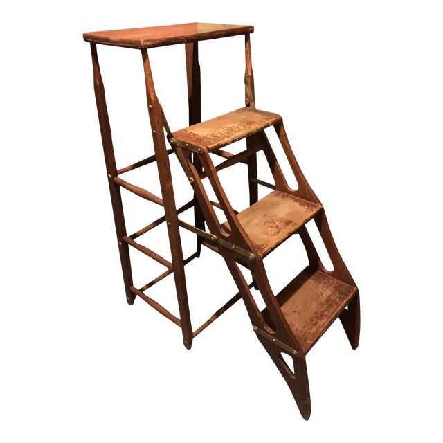 Early 20th Century American Metamorphic Library Ladder Steps For Sale