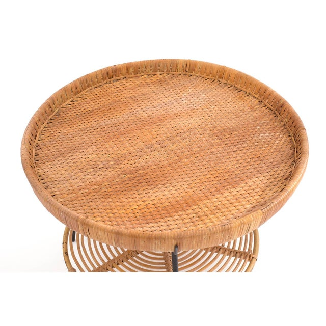 Mid-Century Modern Wicker Rattan and Iron Occasional Table by Raymor For Sale - Image 3 of 4