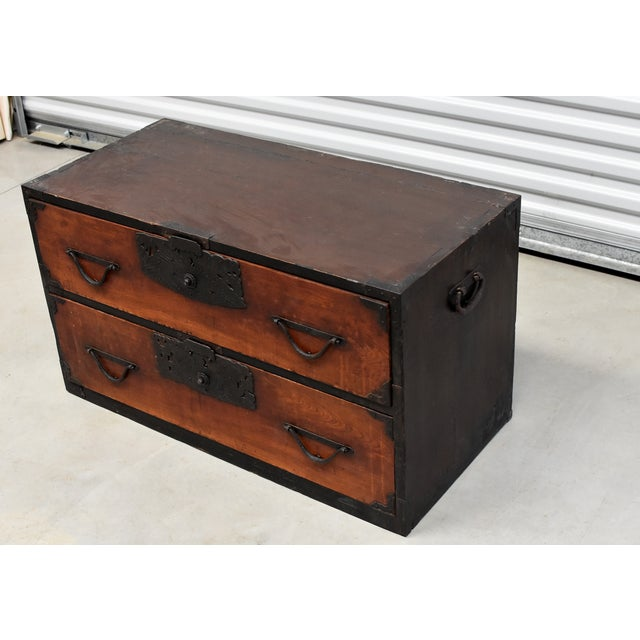 Asian Vintage Japanese Low Tansu Chest with Bamboo Crane Hardware For Sale - Image 3 of 13