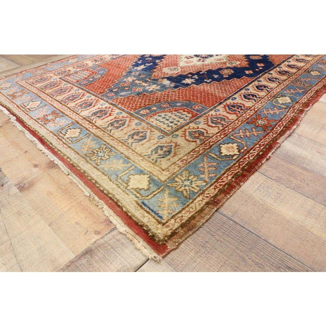 74455 Antique Persian Hamadan rug, Entry or Foyer Rug. Regal and sumptuous, this hand knotted wool antique Persian Hamadan...