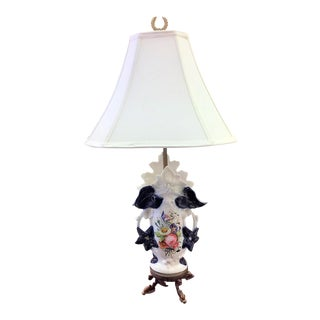 1900s Painted Porcelain Vase Lamp With Brass Fittings For Sale
