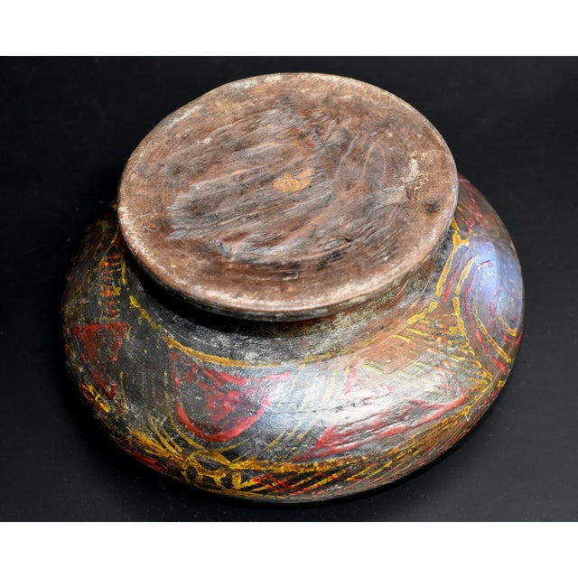 Antique Tibetan Wheat Motif Wooden Bowl For Sale - Image 10 of 13