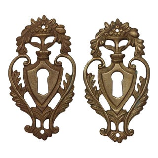 Pair of Victorian Brass Floral Keyhole Covers For Sale