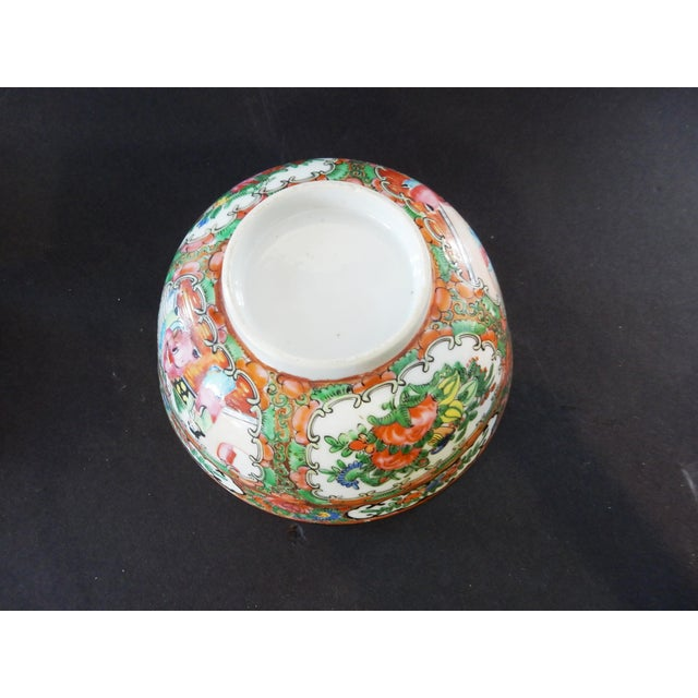 Antique Chinese Export Porcelain Rose Medallion Bowl For Sale - Image 10 of 11