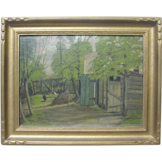 Late 19th Century Antique American Impressionist Farm Landscape Oil Painting For Sale