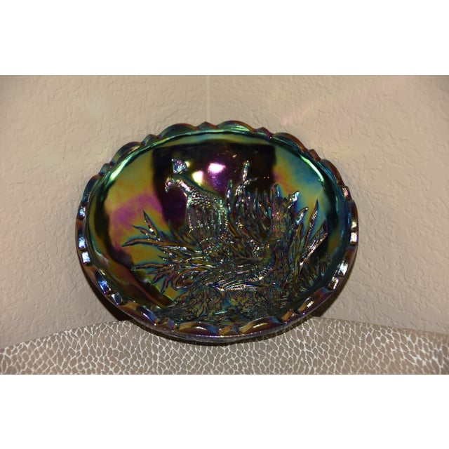 Purple Wright Amethyst Peacocks With Butterfly Back Carnival Glass Bowl For Sale - Image 8 of 11