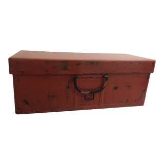 Early Meji Era Japanese Wooden Lacquered Trunk For Sale