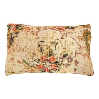 "Vintage English Needlepoint Decorative Pillow 20"" X 16"" For Sale"