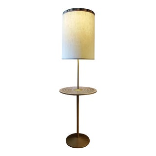 Mid-Century Modern Japan Floor Mosaic & Brass Lamp For Sale