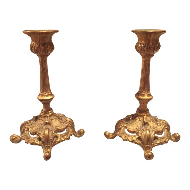 Antique Bronze Finish Candlesticks - Pair - Image 1 of 7
