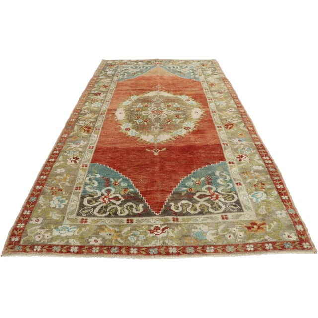 Neoclassical Vintage Turkish Oushak Rug - 3′10″ × 7′2″ For Sale - Image 3 of 10