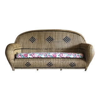 Mid Century Wicker Sofa For Sale