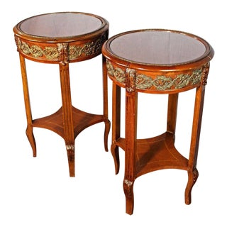 Bronze Mounted Inlaid End Side Tables - a Pair For Sale