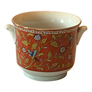 Japanese Small Hand Painted Ceramic Cachepot For Sale