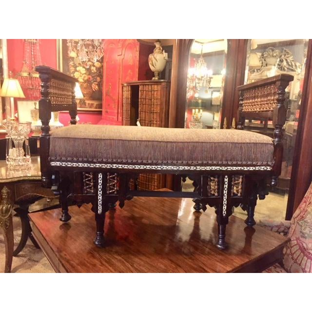 Vintage Moroccan Inlaid Bone Handled Bench For Sale - Image 11 of 11