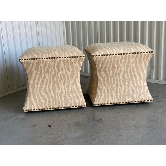 Contemporary Vintage Contemporary Leopard Ottoman - a Pair For Sale - Image 3 of 6