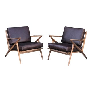 Pair of Mulberry Leather Custom Z Chairs