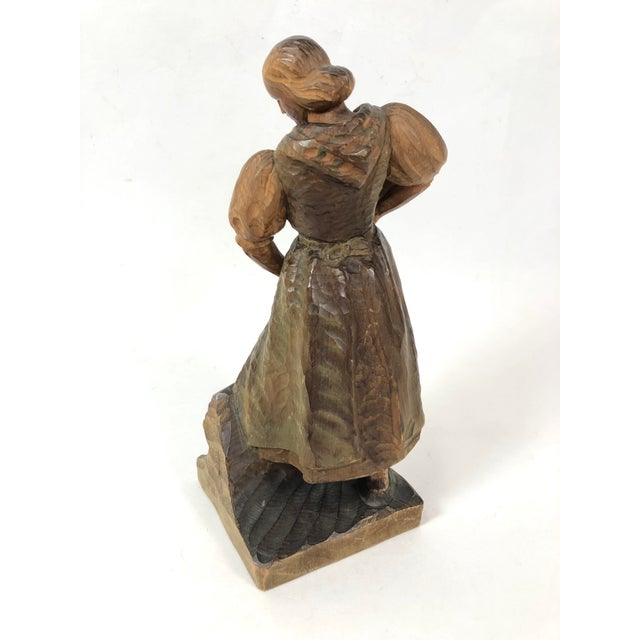 Art Deco Art Deco Carved Wood Sculpture of Woman With Rake For Sale - Image 3 of 7