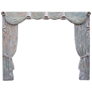 French Hand-Carved Painted Wood Drapery Panels With Valence For Sale