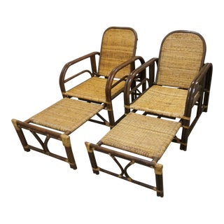 1960s Art Deco Style Bamboo Lounge Chairs- A Pair For Sale