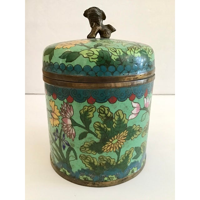 Green Mid 19th Century Green Cloisonné Covered Jar For Sale - Image 8 of 8