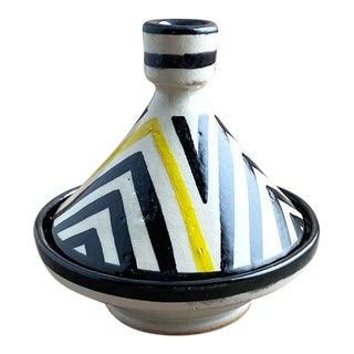 Moroccan Modern Yellow Stripe Tagine, S For Sale