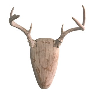 Carved Wood Deer Head With Antlers For Sale