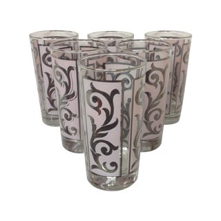 Mid-Century Pink & Silver Highballs - Set of 6 For Sale