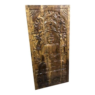 Vintage Wood Buddha Wall Sculpture Panel For Sale