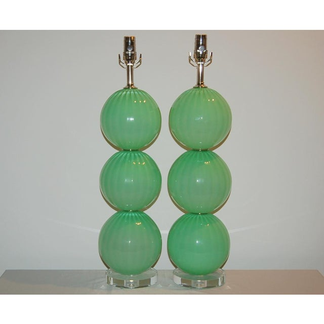 Joe Cariati Hand Blown Glass Ball Table Lamps Green For Sale In Little Rock - Image 6 of 10