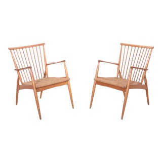 Pair of German Studio Lounge Chairs in Ash and Papercord For Sale