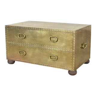 Hollywood Regency Campaign Style Brass Clad Two Drawer Chest by Sarreid Ltd. Spain For Sale
