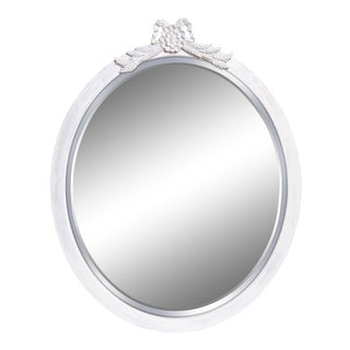 Antique French Provincial White Beveled Oval Mirror For Sale