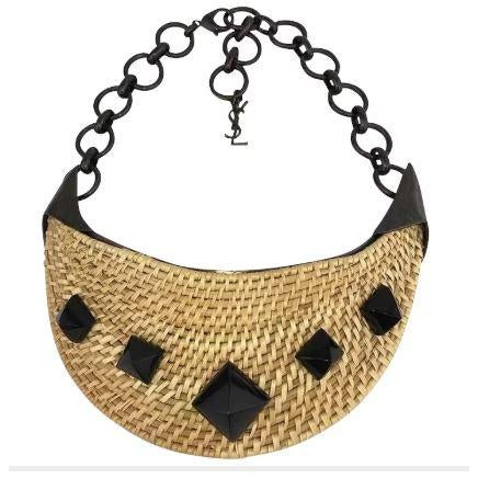 Wicker Yves Saint Laurent Wicker Bib Necklace. Huge. Runway Piece. So Dramatic! For Sale - Image 7 of 7