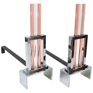 Art Deco Revival Fireplace Andirons in Polished Chrome and Glass For Sale