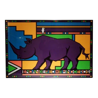 Vintage Rhinoceros Endangered Species Animal Awareness Lithograph For Sale