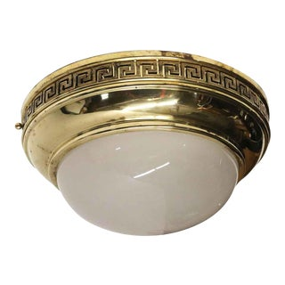 Neoclassical Style Cast Brass Frosted Dome Flush Mount Light For Sale