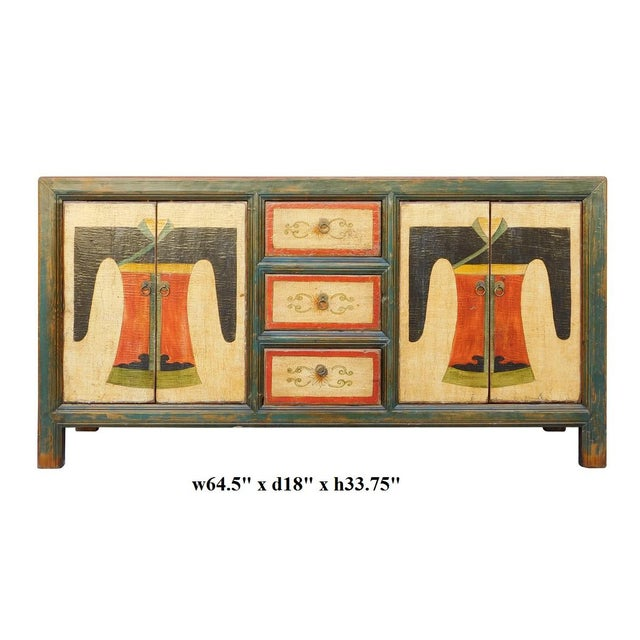 Chinese Distressed Graphic Console Table Cabinet cs2030C - Image 8 of 8